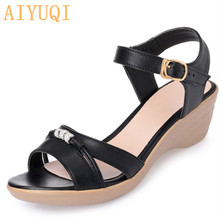 AIYUQI 2019 Fashion new summer elegant woman sandals crystal decoration open toe shoes Rome genuine leather shoes women