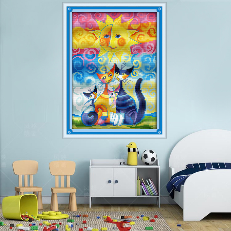 Cats and The Sun Counted Cross Stitch DMC Cross Stitch DIY 11CT 14CT Cross-Stitch Kit Handmade Embroidery for Needlework