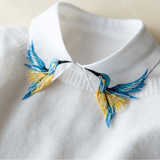 Новый Дизайн Моды Тяжелая птица вышивка ожерелье жилет блузка Рубашка ложные Воротник шеи Женщин Съемная Вертикальная Небольшой Лацкан