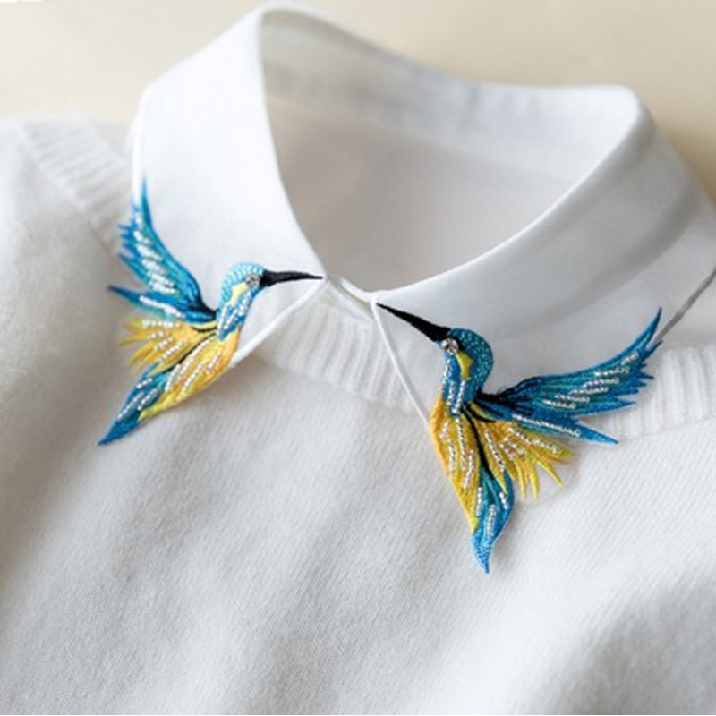 Newly Design Fashion Heavy Bird Embroidery Necklace Vest Blouse Shirt Neck Women Detachable Vertical Small Lapel