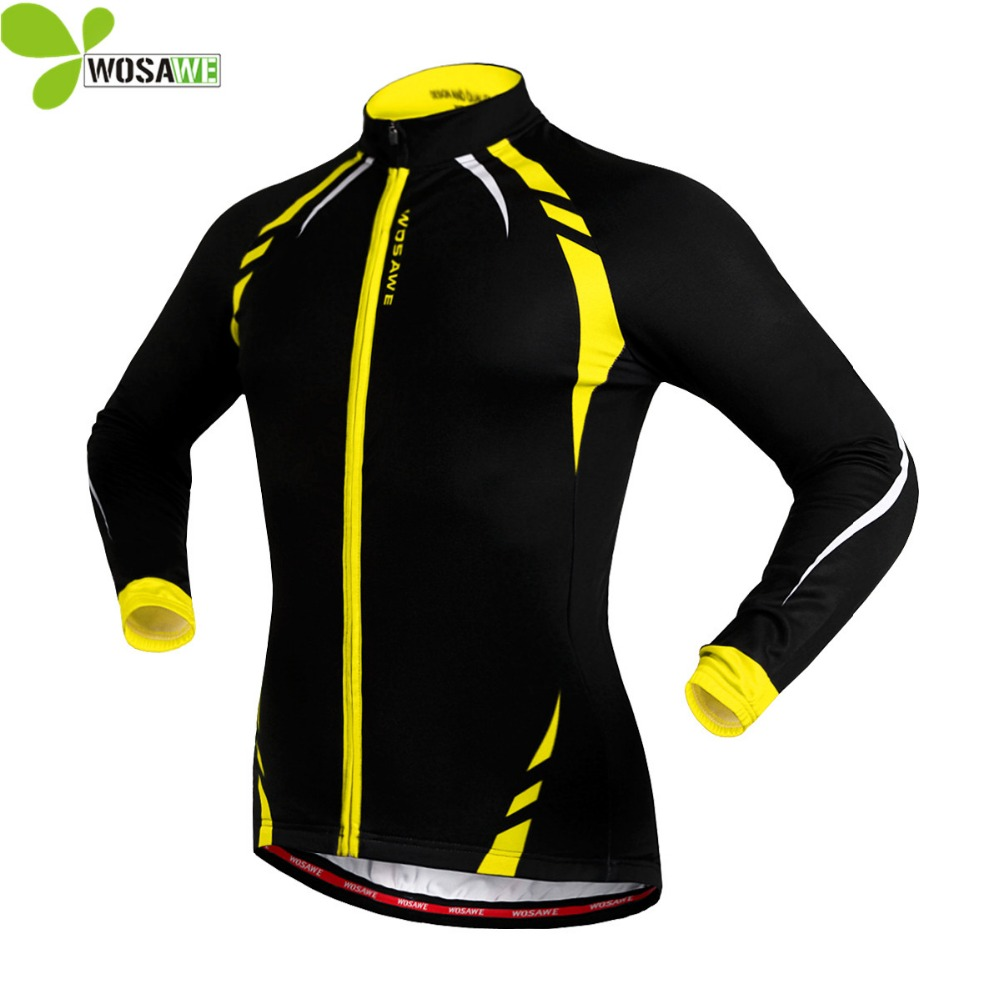 WOSAWE Thermal Fleece Long Running Jackets Winter Bicycle Clothing Windproof Cycling Jerseys Outdoor Sports Coat