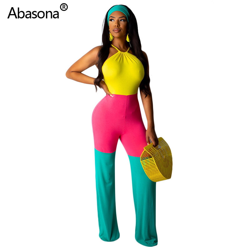 Abasona New Sleeveless Strapless Halter Neck Multi Color Patchwork Full Length Loose Jumpsuit Fashion Sexy Bodysuit for Office(China)