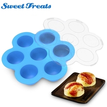 1 pc 7 Holes Egg Bites Molds Silicone DIY Kids Food Boxes Reusable Storage Container Freezer Tray With Lid Baking Tool