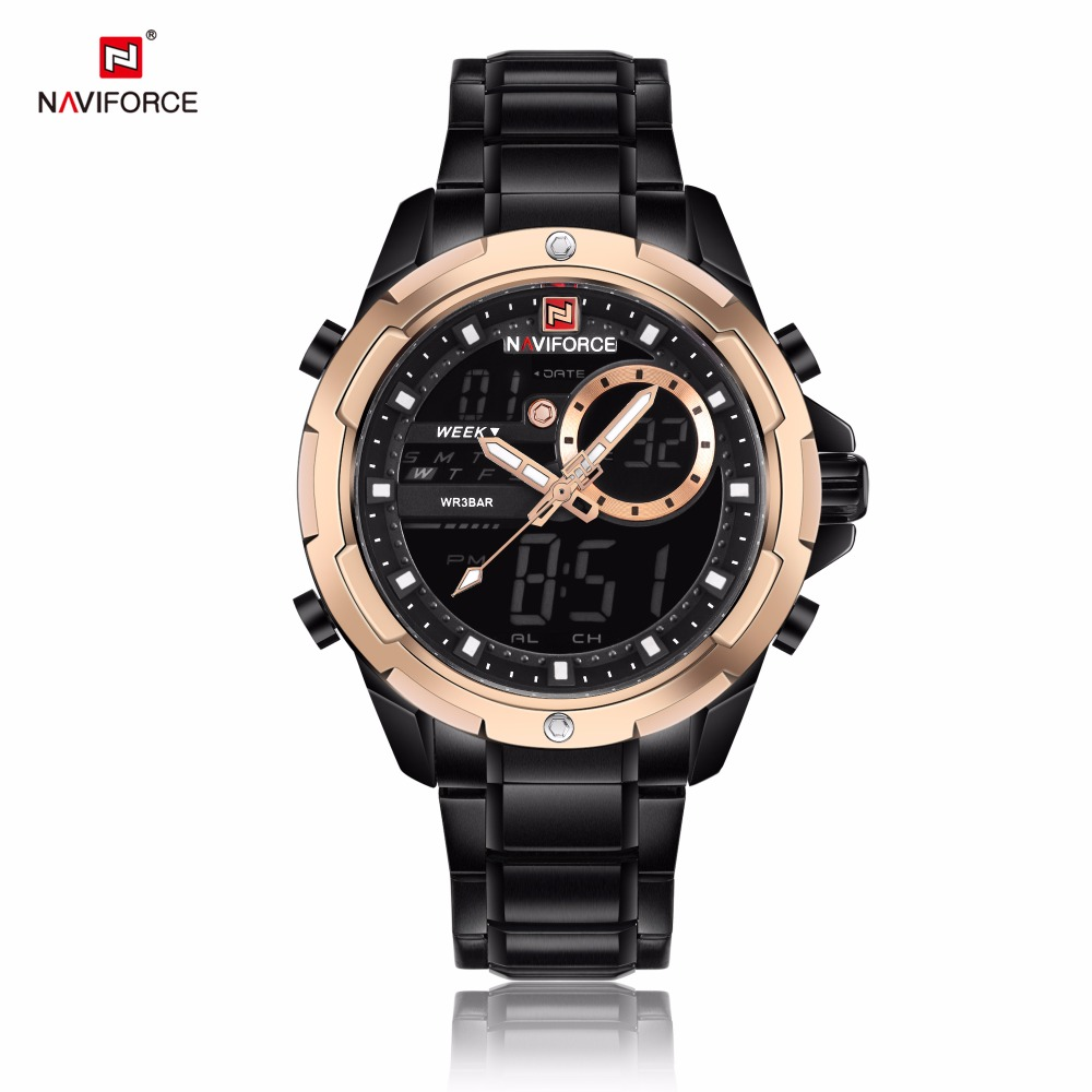 NAVIFORCE Watches Men Sport Quartz Watch Man's Stainless Steel Auto Date Week Dual Display Wristwatches relogio masculino 9120