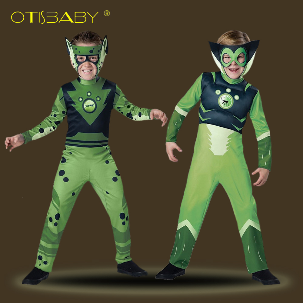 Boys Wild Kratts Cosplay Costumes Children Halloween Carnival Christmas Party Costume Boys Onesies Mask Kids Green Clothing Set