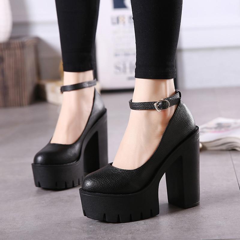 Black Nightclub 13cm Heels Women's Pumps Shoes Super High-heeled Platform High Heels Shoes Waterproof Buckle Single Shoes