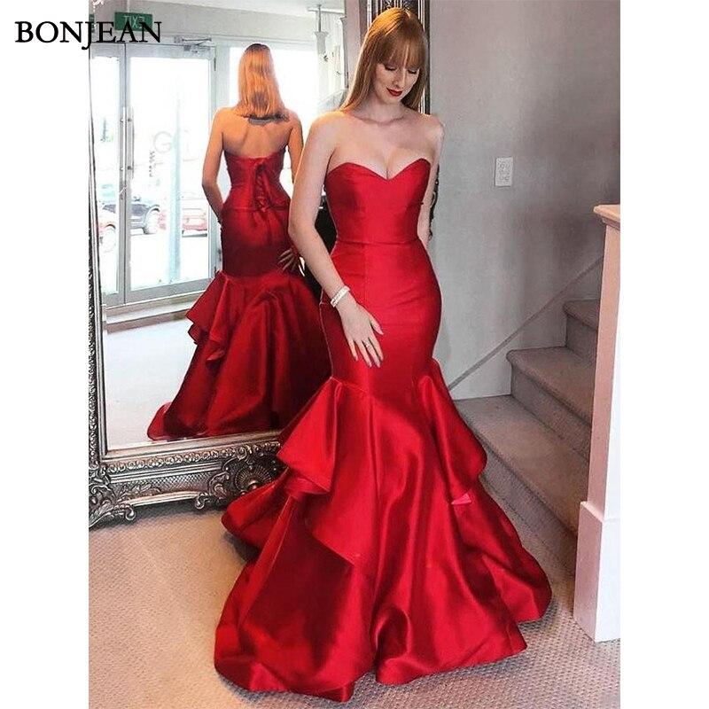 Elegant   Evening     Dresses   Red Sweetheart Mermaid Satin Floor Length Sleeveless   Evening   Gowns Custom Made Vestido de noche