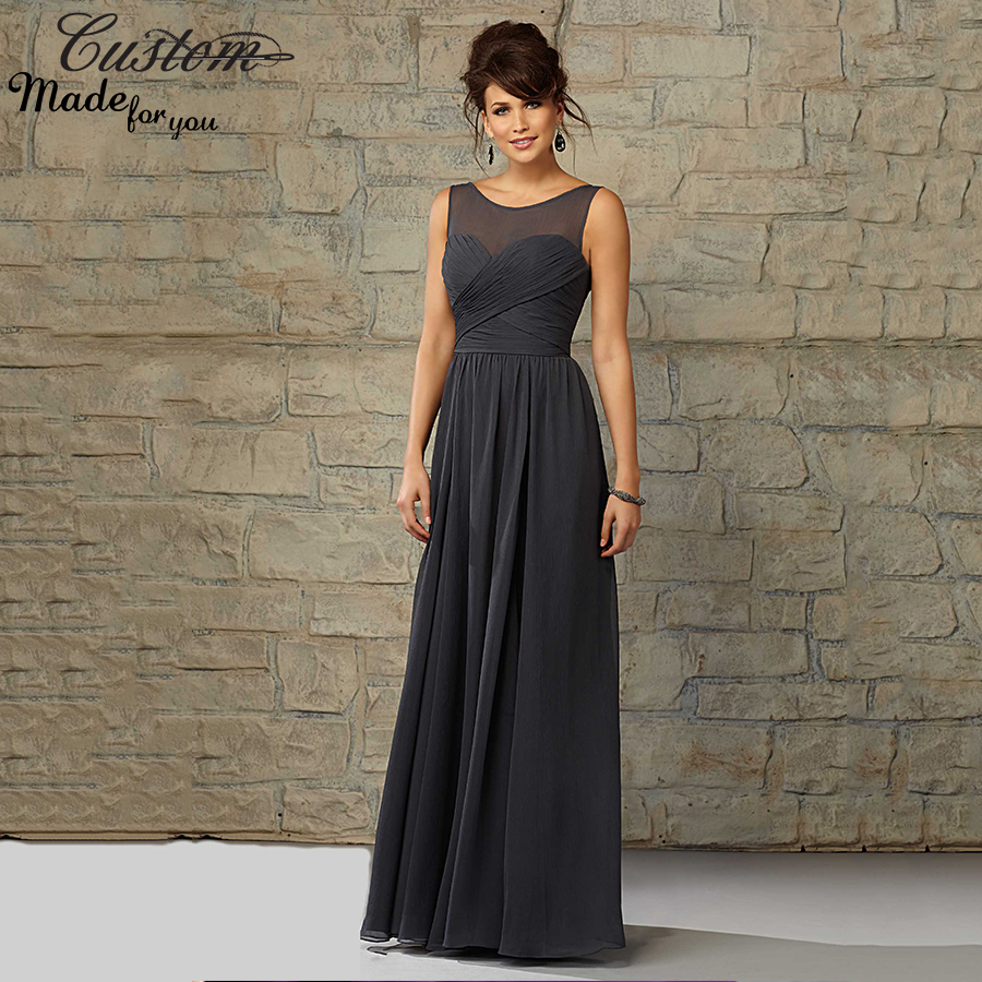 Aliexpress buy elegant chiffon long wedding party gowns aliexpress buy elegant chiffon long wedding party gowns cheap sheer neck pleated corset charcoal gray bridesmaid dresses plus size 2016 latest from ombrellifo Image collections