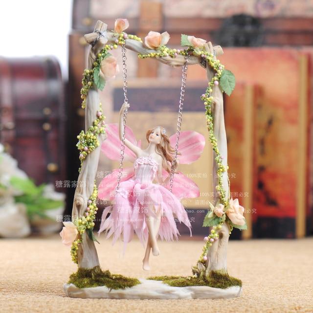 European Style Resin Home Decorations Wedding Room Decoration Angel Fairy  Swing Set Romantic Wedding Gift