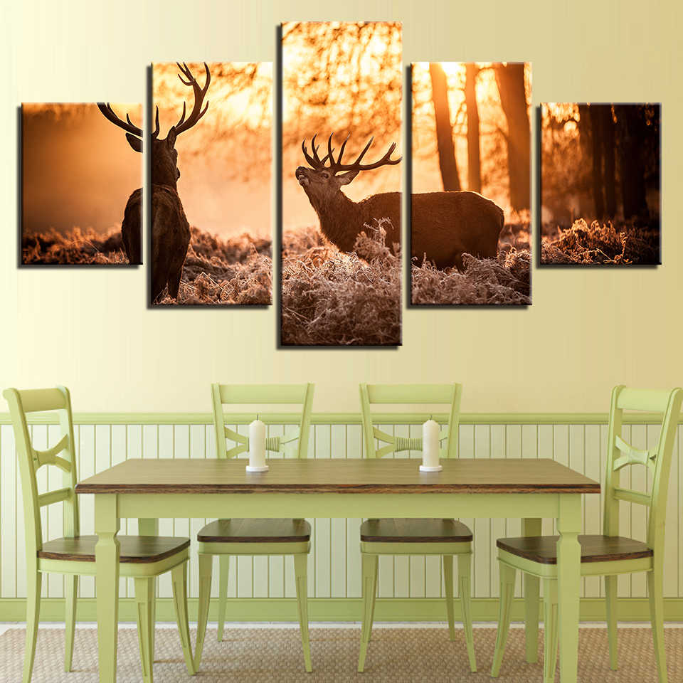 Wall Art Canvas Paintings Framework For Living Room Modular HD Prints Poster 5 Pieces Forest Animal Deer Pictures Home Decor