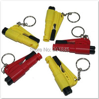 50pcs Mini 3 in 1 rescue car kit SOS Whistle Seat Belt Cutter &Auto Emergency Hammer