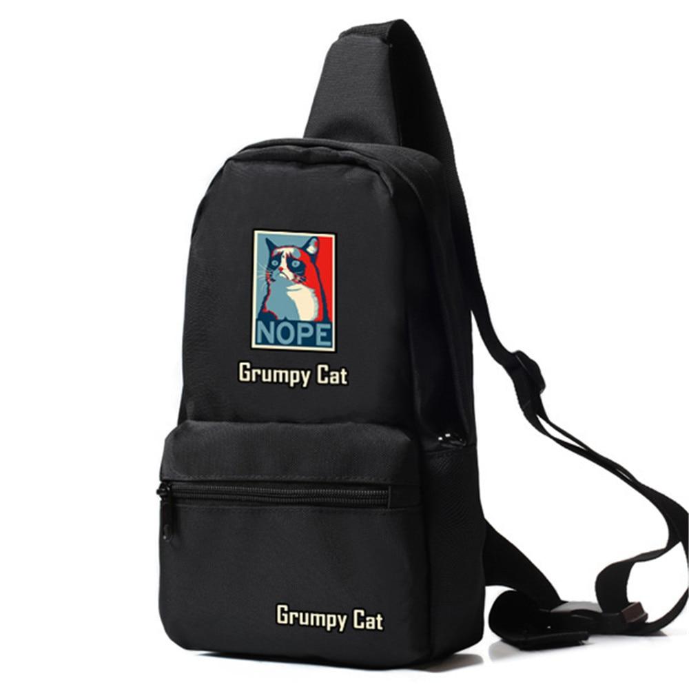 Zshop Men Cross Body Bag So What Leader Cat Sling Bag Oxford Chest Bag Grumpy Cat Daypack for Teenage Boys