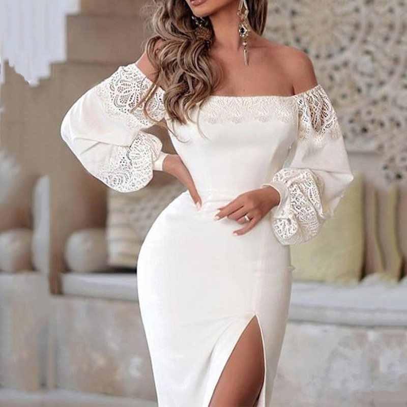 Для женщин с открытыми плечами пикантные белые вечерние платье размера плюс с длинными рукавами и кружевом спереди Разделение Элегантная Дамская Клубная одежда Bodycon платья; сезон осень