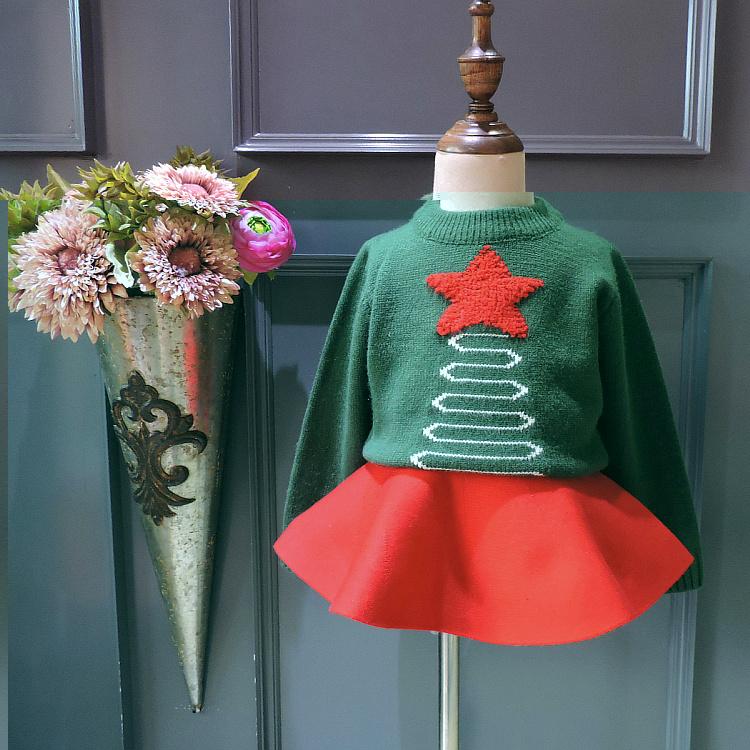 Детские свитера коллекция 2017 года для девочек новый осенний свитер для девочек зимний вязаный пуловер с принтом рождественской елки свитер...