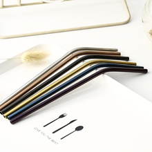 2PCS/4PCS/Pack Colorful Stainless Steel Drinking Straws Straight and Bent Reusable Filter With Brush DIY Tea Coffee Tools