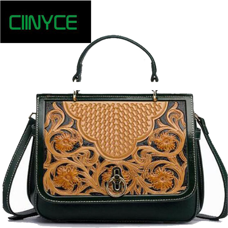 Original Brand Desiger Fashion Women's Genuine Cow Leather Carved Flowers Handbags Cowhide Top Handle Small Totes Crossbody bags women handmade carved flowers genuine leather shoulder bags cow leather crossbody handbags