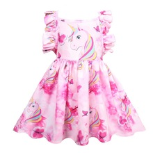 Girls' Unicorn Ruffle Sleeve Party Dress