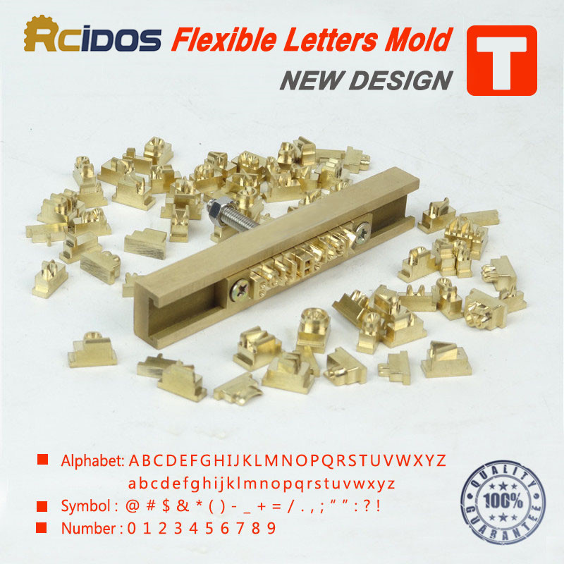T típusú flexibilis forró fólia bélyegző betűk, CNC gravírozó penész, RCIDOS testreszabási szám / ábécé / emojis héber sárgaréz betűk