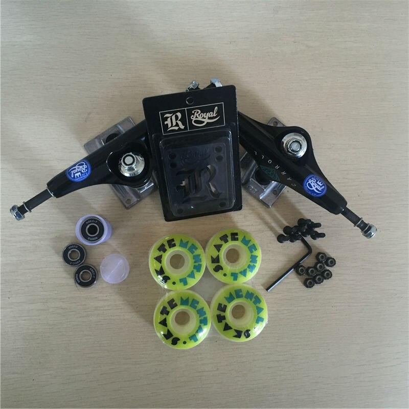 Peças de skate REAL 5.25 Caminhões Do Skate 51mm 52mm Rolamentos de Skate Rodas & ABEC 7 Plus Royal Almofadas de Riser & UM Conjunto de Hardware