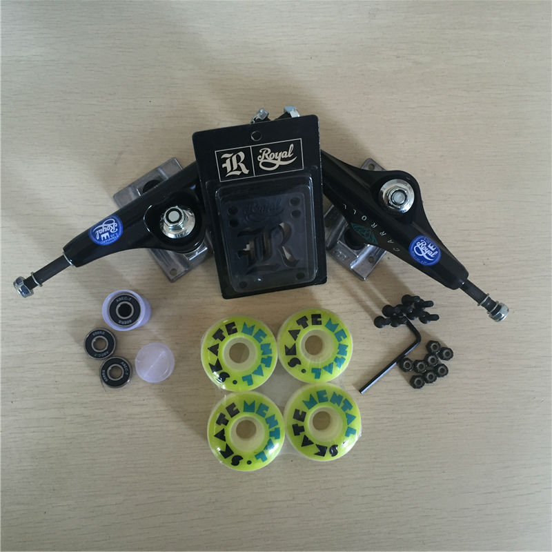 Skateboard Parts ROYAL 5.25 Skateboard Trucks 51mm  52mm Skate Wheels & ABEC-7 Bearings Plus Royal Riser Pads & A Hardware Set 2016 free shipping skateboard royal aluminum 5 25 skate trucks and diamond pu wheels element abec 7 bearings skateboarding