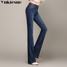 YUKIESUE 2018 Spring Slim Fit Flare Jeans High Waist Stretch Skinny Jean Vintage