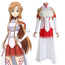 95b546bd54 Anime SAO Sword Art Online Yuuki Asuna Cosplay Fighting Suit Costume  Halloween Party Dress Wear Outfit