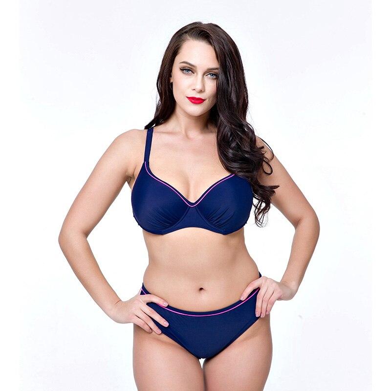 High Quality Deep V Shoulder belt Back buckle Underwire Push Up Women Bikini set Bathingsuit Big Boobs Plus size 48-56 DEF Cups