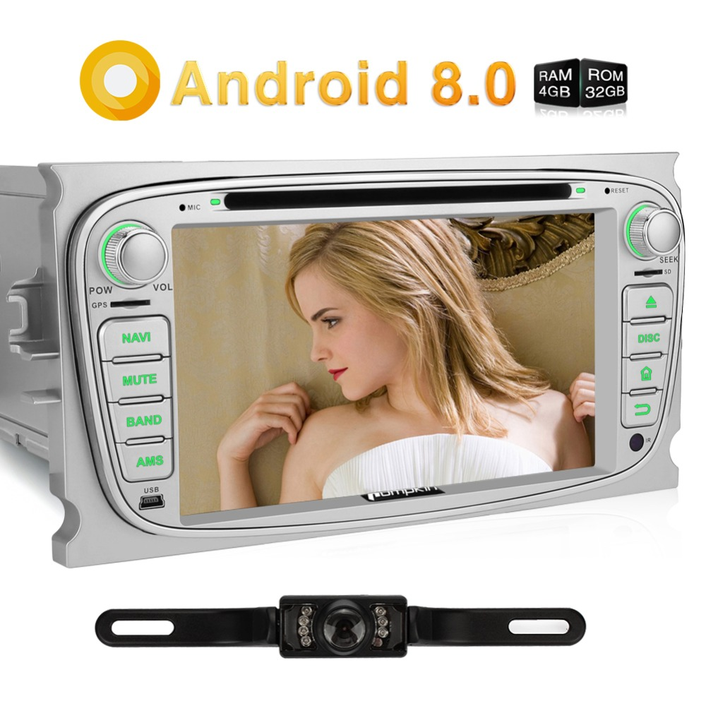 Pumpkin 2 Din Android 8.0 Car DVD Player GPS Navigation Car Stereo For Ford Focus/Mondeo 4GB RAM OBD2 Wifi FM Rds Radio Headunit android 8 0 2 din 7 universal car radio no dvd player gps navigation 4gb ram car stereo fm rds wifi 4g dab headunit
