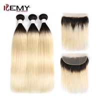 Ombre Blonde Brazilian Straight Human Hair Bundles With Frontal KEMY HAIR 3/4PCS Weave Bundles With Closure Remy Hair Extensions