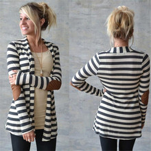 Shocking Show Women Casual Long Sleeve Striped Cardigans Patchwork Outwear