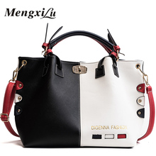 цены на New Women Handbags Fashion PatchWork Color Design Large Capacity Women Messenger Crossbody Bags Rivet Shoulder Bag Female Bolsos  в интернет-магазинах
