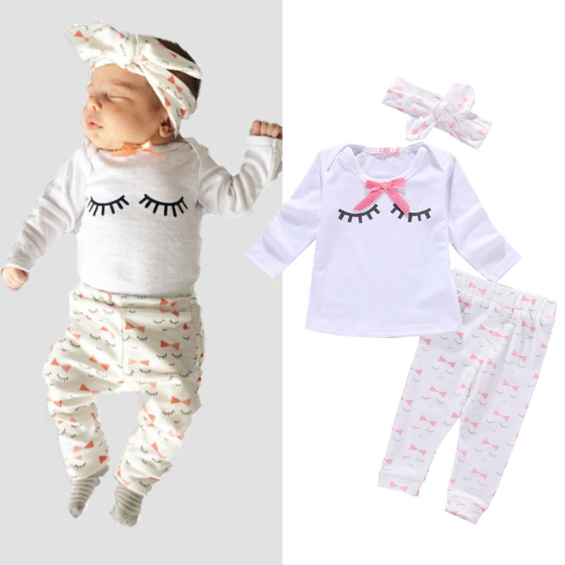 2016 Newborn Baby Girl Clothes new Year Cute Long Sleeve Cotton T-shirt Pant Headwear 3PCS Bebes Clothing Set 0-24M 2pcs children outfit clothes kids baby girl off shoulder cotton ruffled sleeve tops striped t shirt blue denim jeans sunsuit set