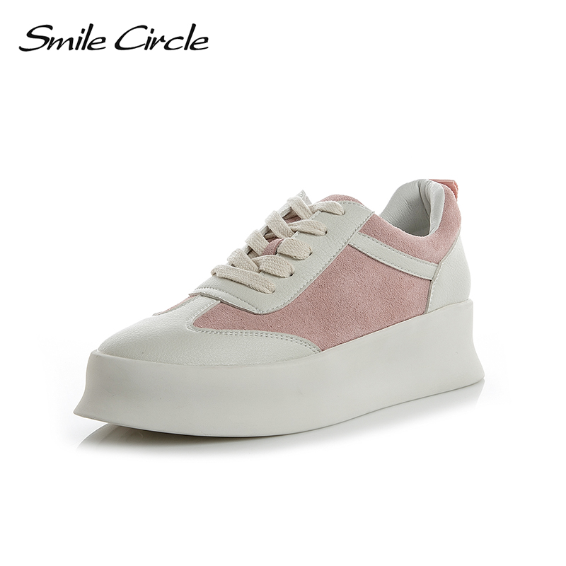 Smile Circle 2018 Spring Fashion Sneakers Women Lace-up Flats Shoes Women Casual Shoes Round toe Flats platform Shoes A69091-5 hizcinth 2018 spring women shoes shallow lace up square toe single shoes woman geometric stars casual flats platform shoes