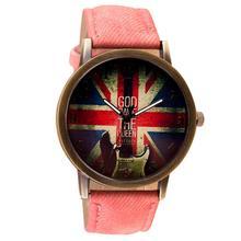 Ретро Мода ВЕЛИКОБРИТАНИИ Флаг Часы Relogio женщина для Часы Наручные Часы Женщины Мужчины Кварцевые Часы Reloj Mujer Мотрэ Femme N11262(China (Mainland))