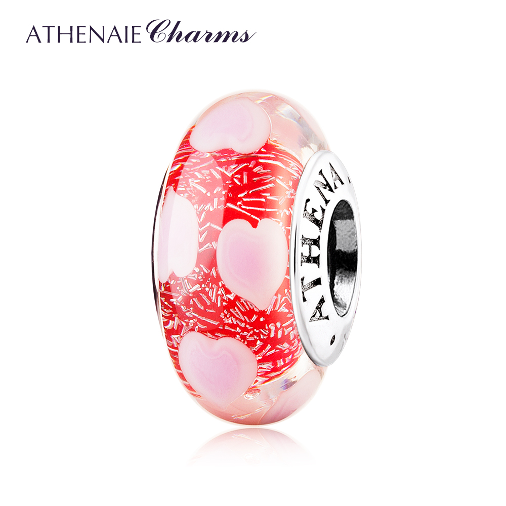 ATHENAIE 925 Sterling Silver Core Pink Murano Glass Charms Beads Love Heart Charm for European Bracelet for Valentine's Day Gift tdiyj gift box love heart dangle to mom new collection charms diy stainless steel mesh silver bracelet for mother s day 1set