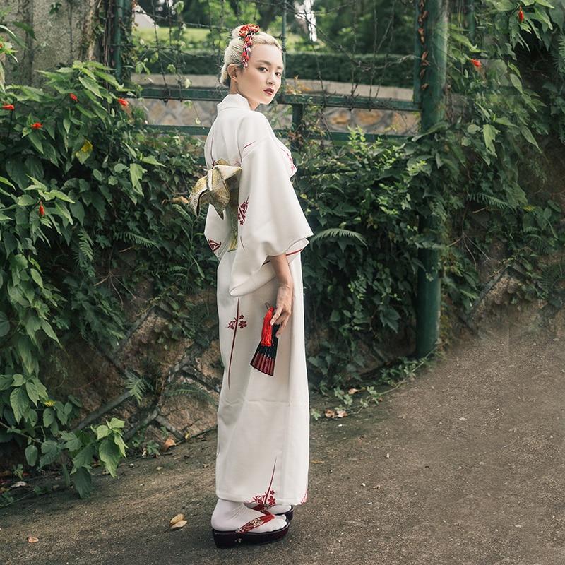 Traditional Japanese Women Kimono Yukata White Print Long Robe With Obi Vintage Girls Daily Dress Gown Cosplay Costume S M