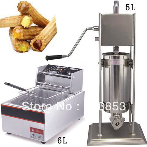 High quality 2 in 1 5L Spainish Churros Maker + 6L Electric Deep Fryer salter air fryer home high capacity multifunction no smoke chicken wings fries machine intelligent electric fryer