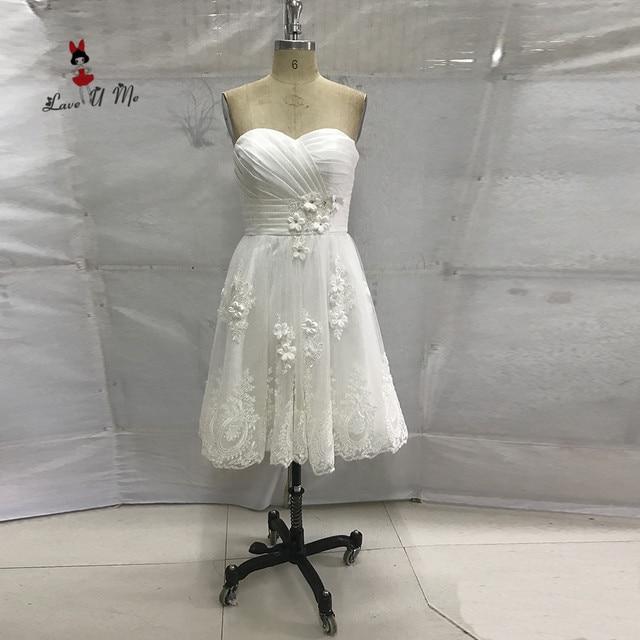 White Vintage Wedding Dress Short Lace Bridal Dresses 2017 China Cheap  Wedding Gowns Flowers Knee Length 6c6806035e49
