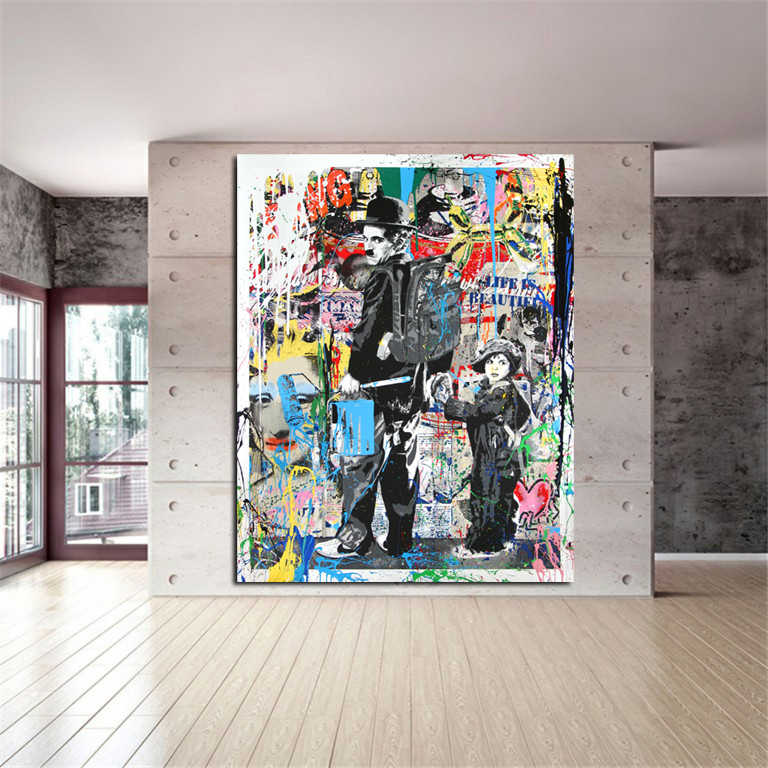 MUTU DH Modern Canvas Painting Graffiti Art Prints Charlie Chaplin Oil Painting Modern Wall Arts and Prints Living Room Decor