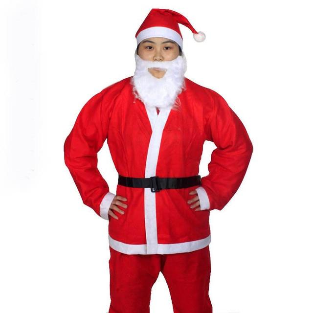 ac7c325fdc7b9b Kerst Xmas Pak Kerst Cosplay Kleding 5 in 1 Rode Mannen Vrouwen Kid Kinderen  Kerstman Kostuum