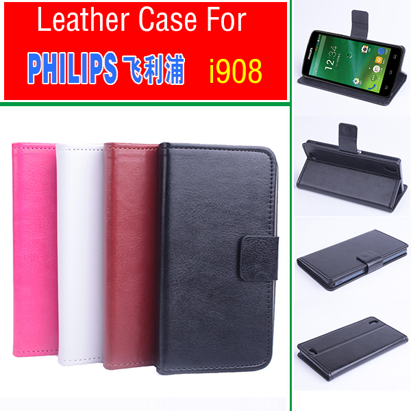 Business Phone Case For Philips i908 PU Leather Flip Wallet Case With Credit Card Slot For Philips i 908 Collapsible Stand Cover