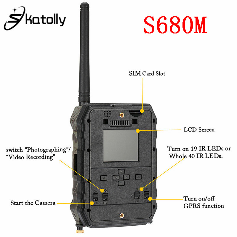 Skatolly S680M 940NM 12MP HD 1080P Hunting Camera 940NM 12MP Infrared Trail Camera With MMS GPRS GSM Night Vision Hunting Camera arduino atmega328p gboard 800 direct factory gsm gprs sim800 quad band development board 7v 23v with gsm gprs bt module