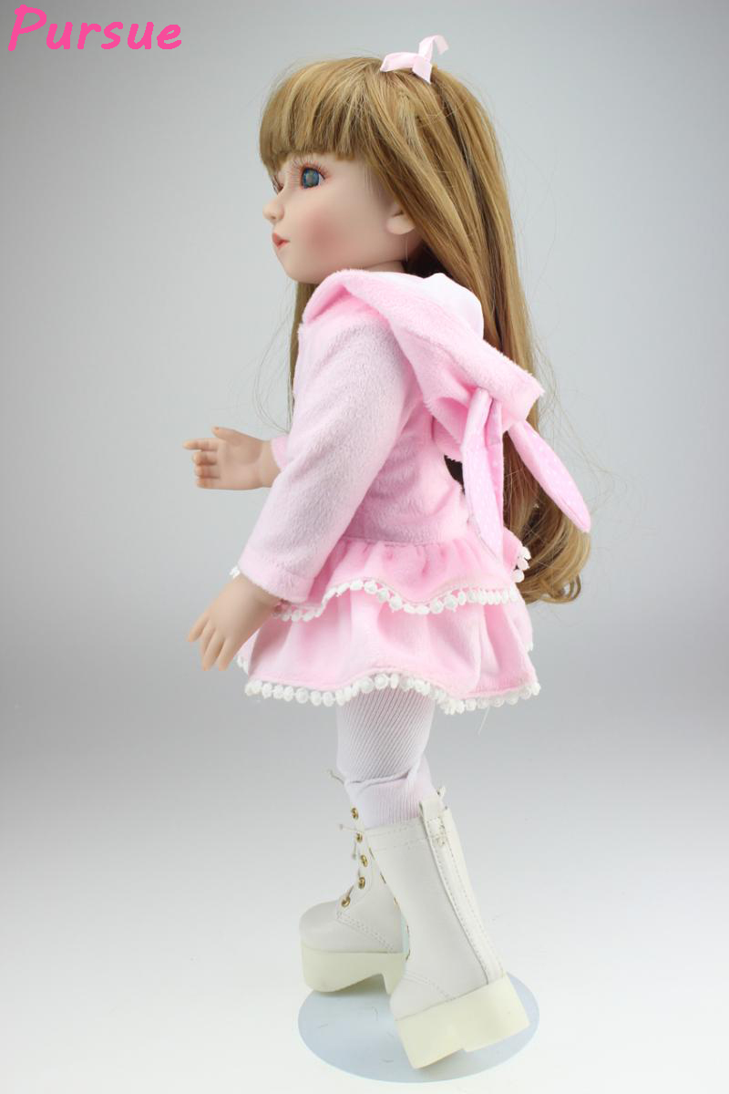 Pursue 18 inch Pink American Girl Doll Toys for Girls Silicone Reborn Babies Full Body Silicone Reborn Dolls Kids Toys for Girls pursue 18 inch hot naked american girl