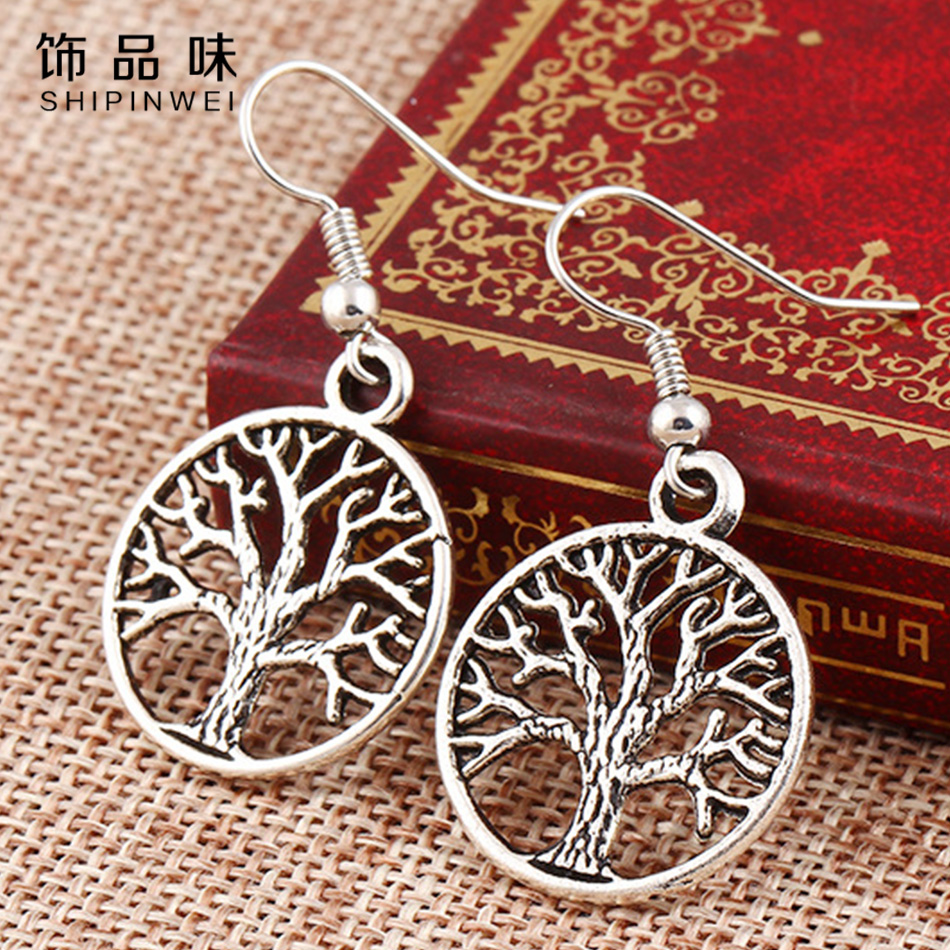 SHIPINWEI New Fashion Jewelry Punk Style Vintage Sliver Color Tree of Life Dangle Earrings Best Gift for Women Grils Wholesale