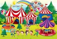 Laeacco Cartoon Ferris Wheel Tent Circus Cruise Scenic Baby Children Photography Backgrounds Photographic Studio Photo Backdrops