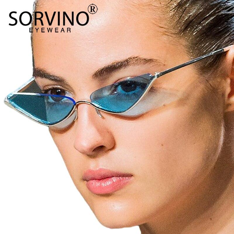 Women's Sunglasses Sorvino 2018 Small Slim No Lens Rose Gold Cat Eye Glasses Frame Brand Designer Women Half Frame Lensless Cateye Sunglasses Sp163 Apparel Accessories