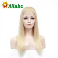 Aliabc Brazilian Straight Lace Frontal 100% Human Hair Wigs 613 Blonde 10 22 Inch Non Remy Hair Extensions Free Shipping