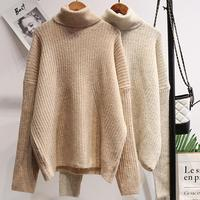 Loose knitted Turtleneck Women Autumn Winter Sweater Thick Warm Pullover and Sweater Soft Long Sleeves