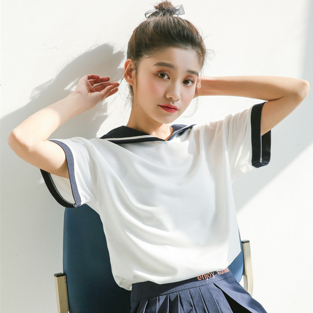 2019 New Japan Style Cute Sailor Collar Short Sleeve T Shirt Women Summer Casual Loose Tops Tees Woman Kawaii T Shirts by Yuazhoqi