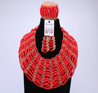 Latest Luxury African Beads Jewelry Set 2016 Gold & Red jewellery Bracelet Designs Nigerian Wedding Crystal Big Design Christmas